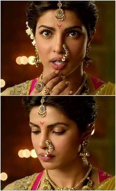 Priyanka Chopra as Kashibai In Bajirao Mastani Nath Bridal, Bridal Nose Ring, Marathi Saree, Marathi Bride, Marathi Nath, Nose Ring Jewelry, Nose Earrings, Saree Photoshoot, Wedding Photoshoot