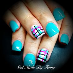 Teal blue with teal, pink & black Plaid print gels, nails by Terry
