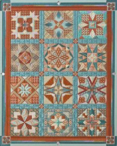 Lisa Rohlf - colorway based on Au ver à Soie 133 - a Southwest palette Canvas Designs, Canvas Patterns, Needlepoint Stitches, Needlework, Cross Stitch Charts, Cross Stitch Patterns, Bargello Quilts, Modern Colors, Needle And Thread