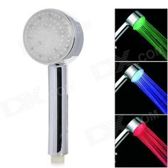 Dreamy Seven Colors Light Changing 5-LED Round Shaped Rainfall Shower Head - Silver