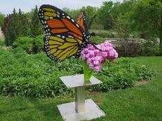 Powell Gardens Lego exhibit Nature Connects 2 - June 2015 - Monarch on Milkweed