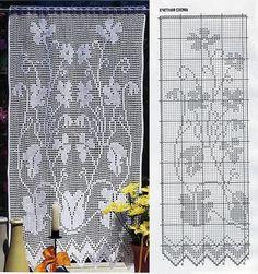 Filet crochet curtain chart                                                                                                                                                      More