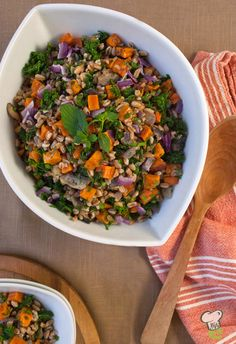 Sweet Potato, Kale and Farro Salad Recipe : Here's a healthy way to enjoy sweet potatoes on Thanksgiving without smothering them in butter and marshmallows. This healthy Thanksgiving side dish brings together the delicious flavors of fall.