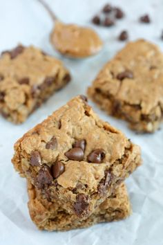 Healthy Peanut Butter Chocolate Chip Oatmeal Bars - VERDICT: These are really good. Not a strong peanut butter taste, but great texture and flavor. KEEPER