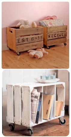 DIY Decor Ideas for Pallets {pallet - DIY – Repurpose crates with casters to make side tables or toy boxes. Crates often c - Reclaimed Wood Furniture, Wood Crates, Repurposed Furniture, Pallet Furniture, Furniture Ideas, Pallet Crates, Pallet Sofa, Plywood Furniture, Palette Diy