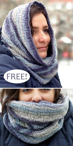 Free Knitting Pattern for Easy Jeansy Cowl – Reversible cowl knit in the round with a textured zigzag chevron stitch that's perfect for color-change cake or ombre yarn, as well as solid colors. Rated easy by Ravelrers. Knitting Blogs, Easy Knitting Patterns, Knitting For Beginners, Loom Knitting, Knitting Stitches, Knitting Designs, Free Knitting, Knitting Projects, Finger Knitting