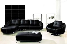 Amazon.com : New 4pc Contemporary Leather Sectional Sofa #AM-L218-A-BLACK : Furniture & Decor