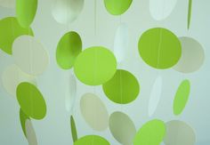 Lime Green / Chartreuse  White Paper Garland, Wedding Decor, Birthday Party, Baby Shower, Nursery, 10 feet long
