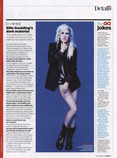 Ellie Goulding in GQ Magazine wearing Lascivious, this is kind of my favorite thing ever.