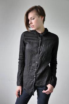 Linen Drop Hem Shirt