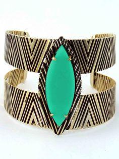 bracelete étnico ouro velho com turquesa. #style #moda