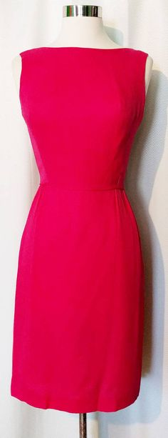 Hot Pink 60s Party Dress with Chiffon Train by MagicSummerVintage