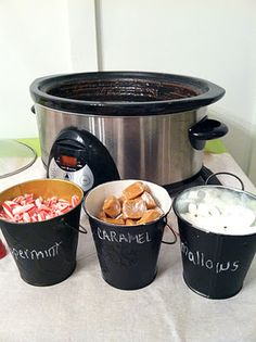 For Xmas day -great idea for hot chocolate bar, crock pot to keep hot cocoa warm and then fixings on the table! Holiday Treats, Christmas Treats, Holiday Parties, Holiday Recipes, Holiday Decor, Christmas Party Food, Christmas Fun, Chrismas Party Ideas, Company Christmas Party Ideas