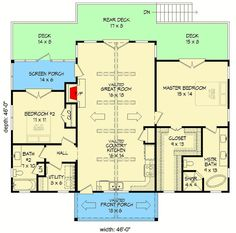 Plan 2 Bed House Plan With Vaulted Interior architectural designs 2 Bed House, 2 Bedroom House Plans, Basement House Plans, Ranch House Plans, Best House Plans, Small House Plans, House Floor Plans, Cottage House, Tiny House