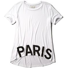 Abercrombie & Fitch Paris Drapey Graphic Tee (55 BRL) ❤ liked on Polyvore featuring tops, t-shirts, shirts, white, vneck t shirts, graphic shirts, v neck t shirts, white shirt and t shirts
