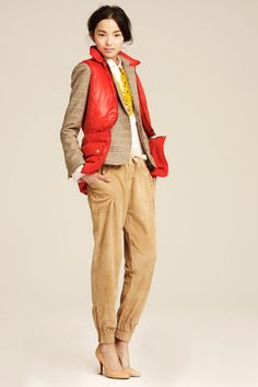 khaki and poppy red, with some yellow