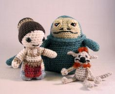 PDFs of Set 2 of Star Wars Mini Amigurumi Patterns - Slave Leia and Jabba the Hutt, with Salacious Crumb - lucyravenscar Etsy shop