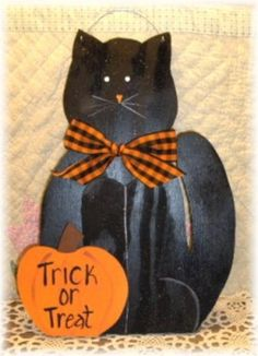 Halloween Black Cat Wood-halloween,black,cat,wood,sign