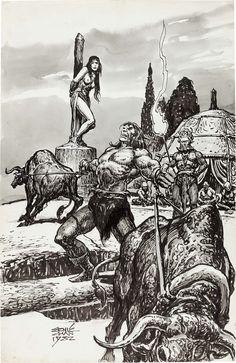 Savage Sword of Conan #82 page 48 Pin Up by Ernie Chan 1982 Comic Art