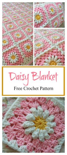 Crochet Square Pattern Daisy Granny Square Baby Blanket Free Crochet Pattern - The adorable Daisy Granny Square Baby Blanket Free Crochet Pattern is made up of cheerful, colorful little daisies. There are many options to personalize. Granny Square Pattern Free, Crochet Motifs, Granny Square Crochet Pattern, Crochet Squares, Crochet Blanket Patterns, Knitting Patterns, Free Pattern, Crochet Blankets, Crochet Square Blanket