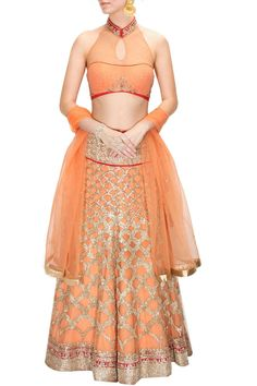 This peach colour lehenga choli is made with zari embroidery all over inspired by fish scales paired with peach halter blouse with net panel and red embroidered mandarin collar. It is styled with peac Lehenga Choli Online, Bridal Lehenga Choli, Red Lehenga, Indian Attire, Indian Wear, Saris, Salwar Kameez, Patiala Suit, Anarkali Suits
