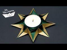 Basteln und mehr...: Origami Sterne Teelichthalter falten zu Weihnachten - schöne Weihnachtsdeko selber basteln