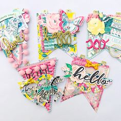 More details ?Who doesn't love themselves some Maggie's Holmes! This carousel banner made it to the Birthday girl Crate Paper Origami, Crate Paper, Candy Cards, Scrapbook Embellishments, Scrapbook Paper Crafts, Project Life, Mini Albums, Gift Tags, Bouquets