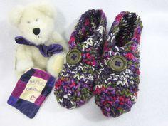 Crochet Slippers in Purple Green Cream and от crochetedbycharlene