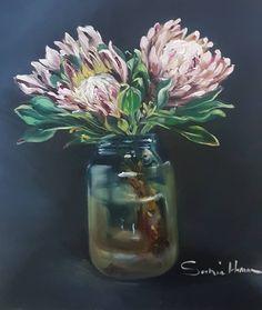 Protea Art, Oil Paintings, Glass Vase, Home Decor, Decoration Home, Room Decor, Art Oil, Interior Decorating
