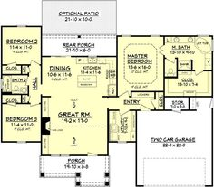 Cottage Plan: 1,675 Square Feet, 3 Bedrooms, 2 Bathrooms - 041-00077