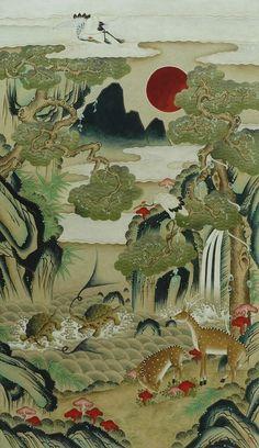 (Korea) Ten longevity symbols by unknown artist. ca century CE. Museum of Philadelphia, usa. Egyptian Drawings, Japanese Drawings, Japanese Art, Kunst Inspo, Art Inspo, Korean Art, Asian Art, Art And Illustration, Art Chinois