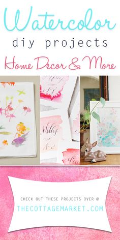 Watercolor DIY Projects Home Decor & More - The Cottage Market #WaterColors, #WaterColorDIYProjects, #WaterColorDIY