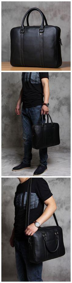 Handmade Men's Leather Briefcase Messenger Bag Handbag Fashion Laptop Bag 361 - Another! Leather Bags Handmade, Handmade Bags, Fashion Handbags, Fashion Bags, Tote Handbags, Tote Bags, Fashion Outfits, Womens Fashion, Leather Briefcase
