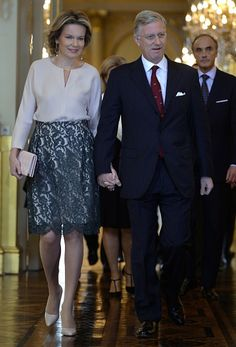 Queen Mathilde of Belgium and King Philippe of Belgium arrive for a New Year's reception organized by the Royal Family for the Belgian Authorities, at the Royal Palace, in Brussels, on January 28, 2016.