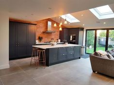Dunsen Grey Customer Project Like the floor tile Kitchen Family Rooms, Living Room Kitchen, Home Decor Kitchen, Interior Design Kitchen, New Kitchen, Home Kitchens, Dining Room, Luxury Kitchens, Kitchen Designs