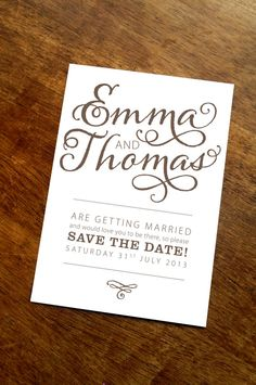 Bold Text A6 save the date card by TigerlilyWedding on Etsy