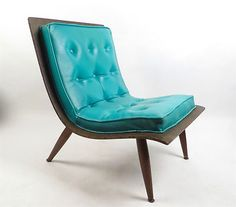 Danish Modern Eames Era Molded Bent Plywood Turquoise Lounge Chair
