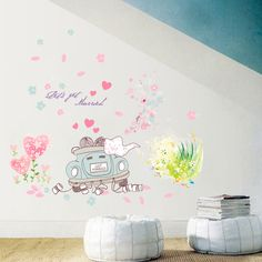 [Fundecor] cartoon couple car flowers heart wall stickers for kids rooms bedroom decor wedding room decals home decoration #Affiliate