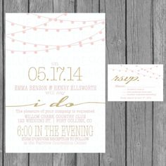 simple wedding invitation, modern, strings of lights, engagement party invite, reception only invite, vow renewal, pink, gold