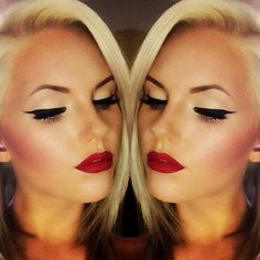 red lips+ winged eyes