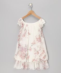 Take a look at this White Rose Angel-Sleeve Dress - Toddler & Girls on zulily today!