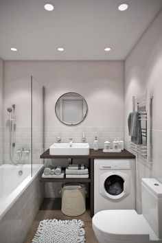 Looking for ideas to transform your small bathroom? Maximize your bathroom with these tips and ideas for your small bathroom spaces. Bathrooms are usually small spaces that are called upon to do many things. Bathroom With Tub House Bathroom, Small Bathroom, Bathrooms Remodel, Laundry In Bathroom, Bathroom Interior Design, Bathroom Decor, Home, Bathroom Design Small, Bathroom Layout