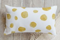 This polka dot pillow would be so fun on my bed or on my sofa~ Watercolor Dots Pillow by Erin Niehenke | Minted