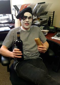 Creative Halloween costume for the office | French Kiss (a clever play on words, face painted as Kiss and a French Man)