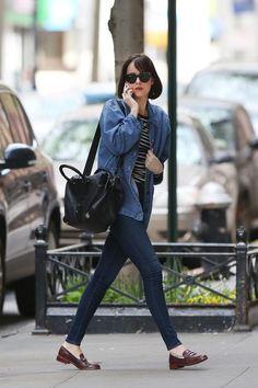dakota johnson, loafers, jean jacket, black and gray striped shirt,
