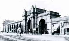 Union Station in Columbus, Ohio around 1900. Constructed between 1895 and 1899, Union Station was actually the third train station built in Columbus. It was located at the corner of High and East Naghten.