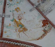 Kerk Noordbroek. Legende Christoforus,  figurale en ornamentale voorstellingen ca. 1500-1520. Foto Gouwenaar.