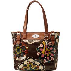 Fossil Key-Per Shopper Handbag, Doodles Brown ($160) ❤ liked on Polyvore