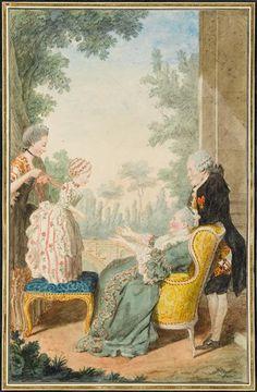 La marquise d'Equeville et ses filles, la Bonne, et le marquis Joyeuse, c. 1760's by Louis Carrogis Carmontelle (1717-1806)