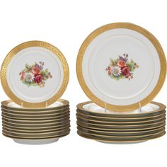 Large Set of Limoges M. Redon Porcelain Gilt Painted Plates 9 Dinner Plates, 12 Salad Plates - Large Set of Limoges M. Redon Porcelain Gilt Painted Plates 9 Dinner Plates, 12 Salad Plates